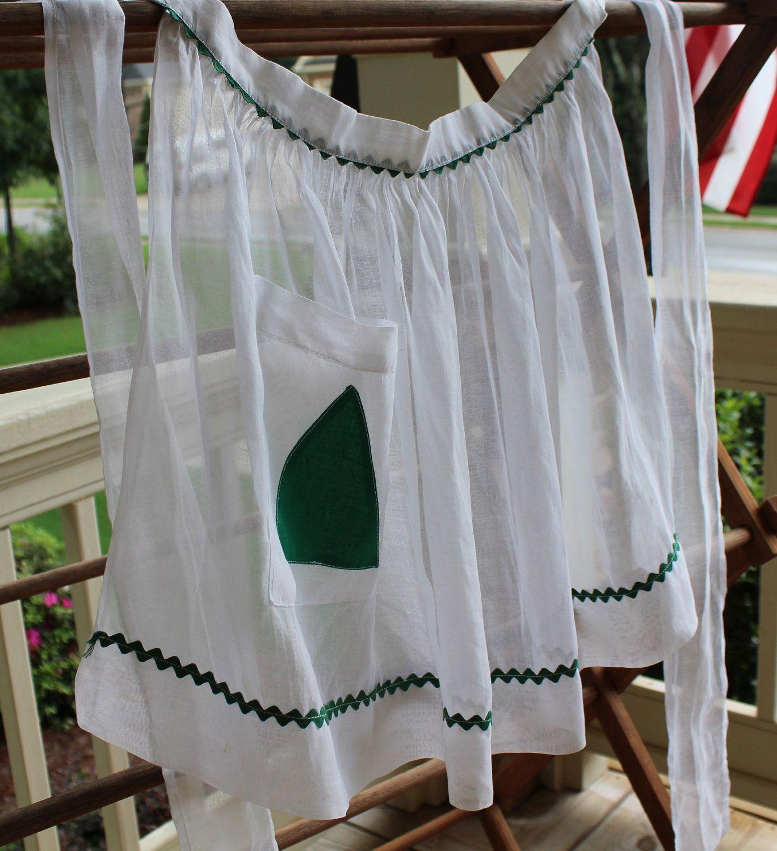 White half apron vintage - Vintage Half Apron White Organdy With Green Ric Rac