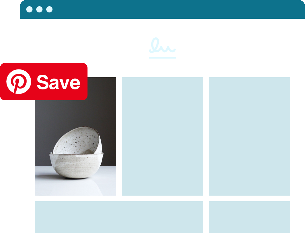 Photo of ceramic bowls with the Save button icon overtop
