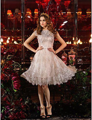 Sheath/Column Jewel Knee-length Lace Cocktail Dress