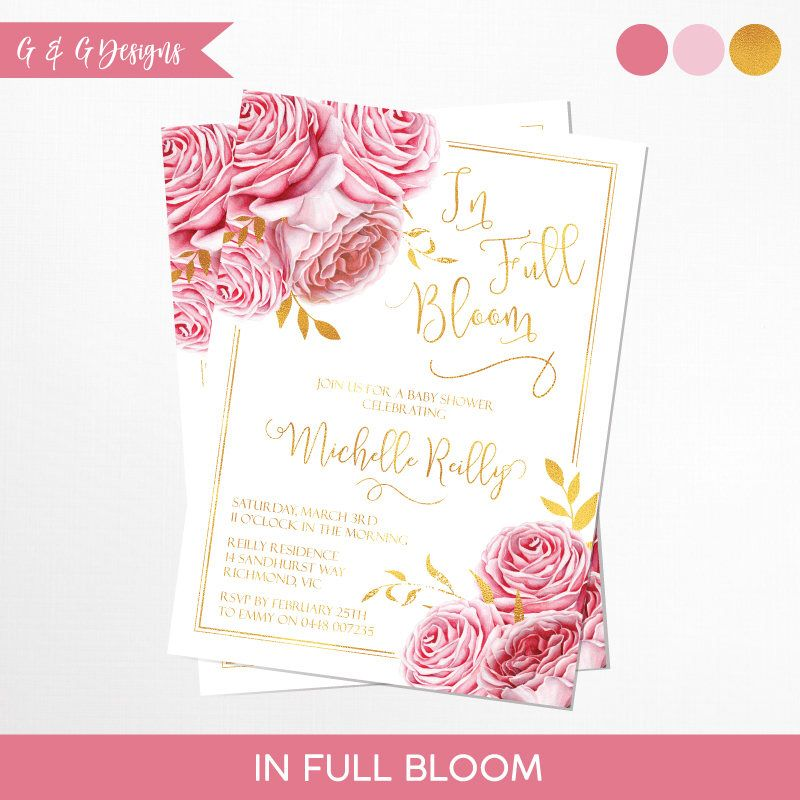 Beautiful In Full Bloom Baby Shower Invitation Printable by GandGDESlGNS on Etsy s New - Amazing bloom baby Minimalist