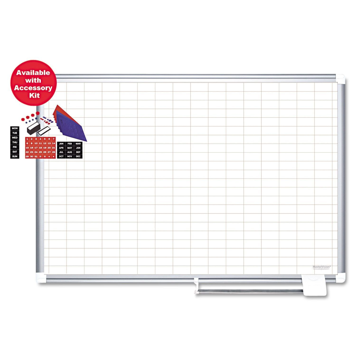 """MasterVision Grid Planning Board with Accessories, 1x2"""" Grid, 72x48, /Silver"""