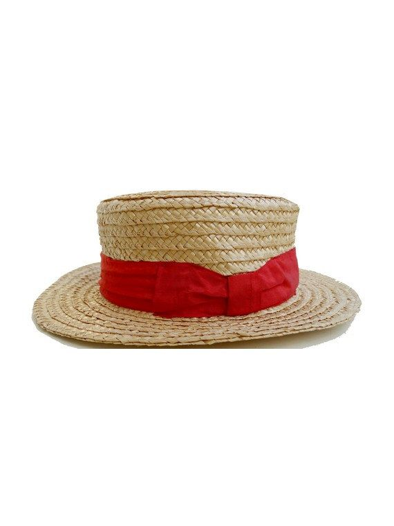 FRENCH Vintage Child Straw Boater Hat with red Ribbon  79e6319417f4