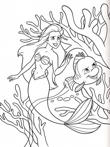 Walt Disney Coloring Pages  Princess Ariel  Flounder  walt