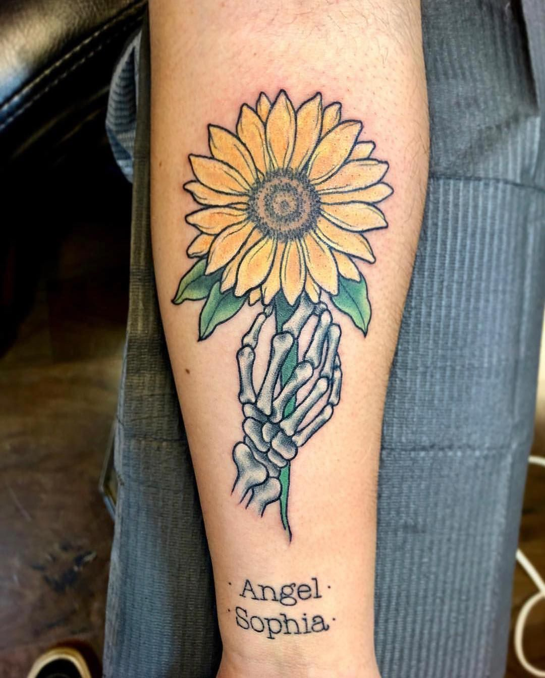 Skeleton Hand and Sunflower Tattoo Tattoo Ideas and