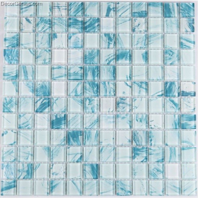 11 Sheets Sky Blue Color Glass Blend Navy Glass Mosaic Tiles Cheap Sink Floor Tile Mosaic Glass Glass Mosaic Tiles Glass Backsplash