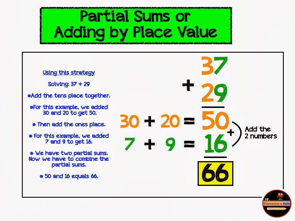 3 Partial Sums Addition Worksheets 2nd Grade In 2020 Addition Strategies Elementary Math Addition Worksheets