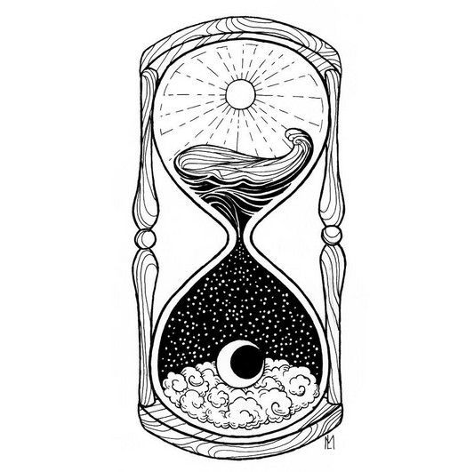 45 Creative Tattoo Drawings For Your Inspiration Hourglass Tattoo Moon Tattoo Black And White Drawing