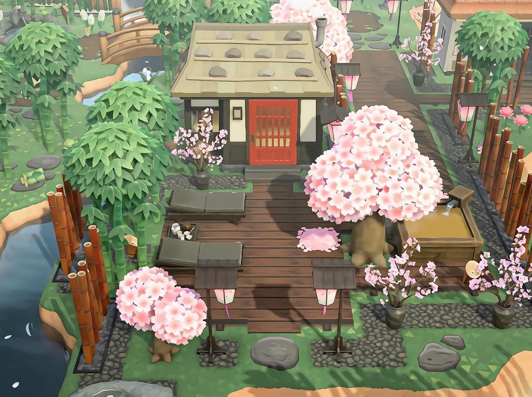 Ashley On Instagram Cherry Blossom Onsen This Area Was Inspired By The Villagers That Too In 2021 Animal Crossing Wild World Animal Crossing New Animal Crossing