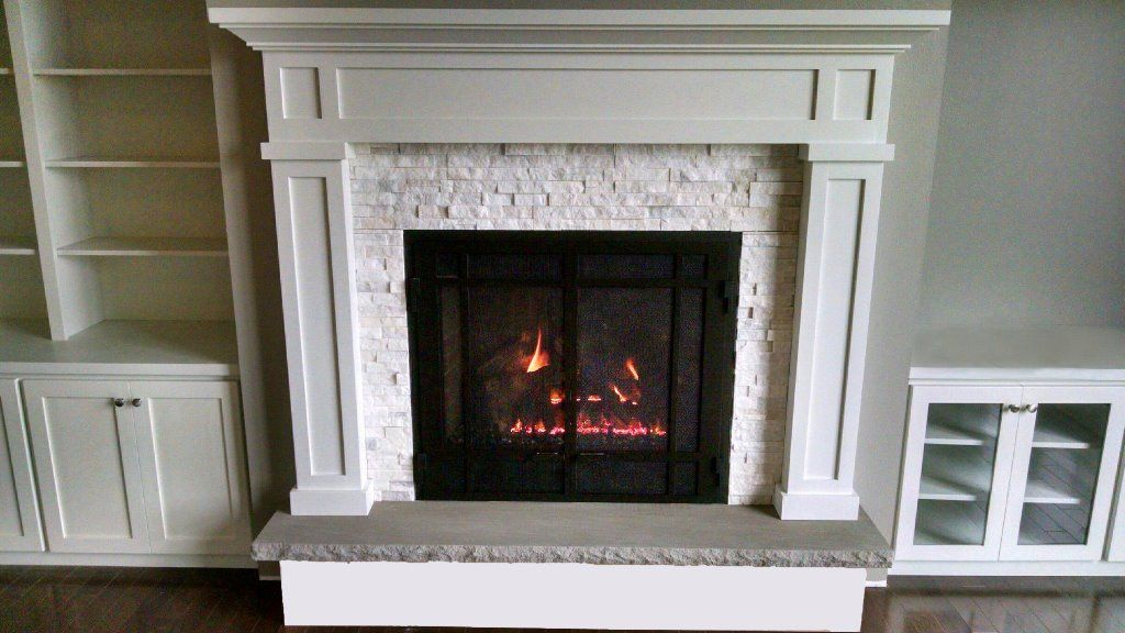 Gas Fireplace how to relight pilot on gas fireplace : Mendota DXV45 gas fireplace with prairie doors, Ivory quartz stone ...