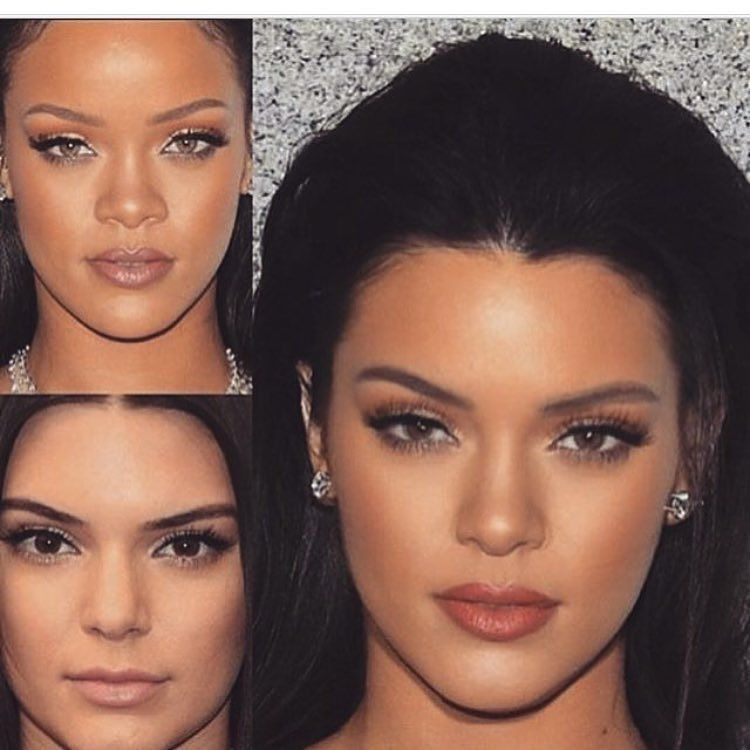Face mash up  #kendalljenner and #rihanna what do you think?? Love or hate???