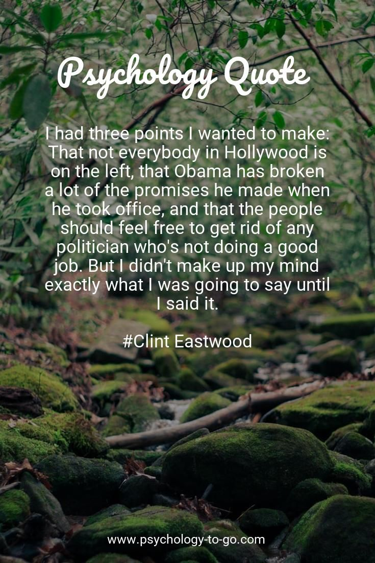 Do you find yourself wondering how to face the ups and downs of life? Discover not only information that is accurate, understandable, and actionable but also helpful tools provided by Psychology To Go! Or just enjoy 467+ Good Quotes from Clint Eastwood like I had three points I wanted to make: That not everybody in Hollywood is on the left, that Obama has broken a lot of the promises [...] #goodbye #goodeats #goodday