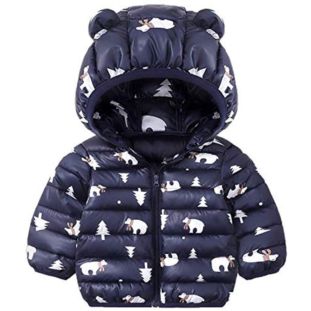 Baby Kids Girls Cute Hooded Winter Warm Coat Padded Jacket Children Outerwear