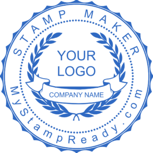 Custom Stamps In Blue Created With The