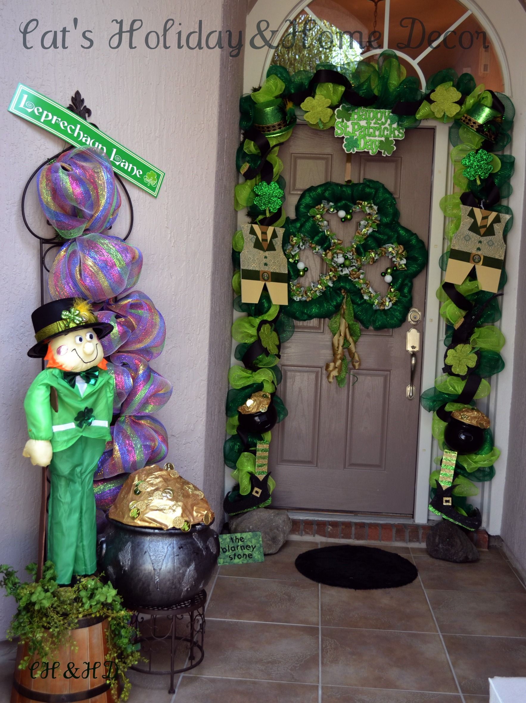 St. Patricks Day Door decor | Deco Mesh | Pinterest ...