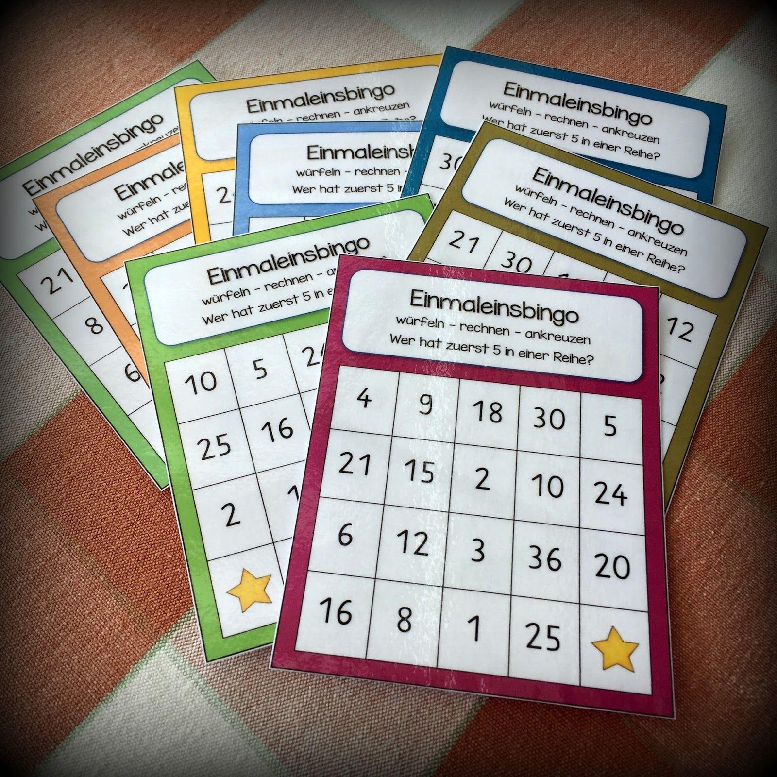 Einmaleins Bingos Mit Bildern