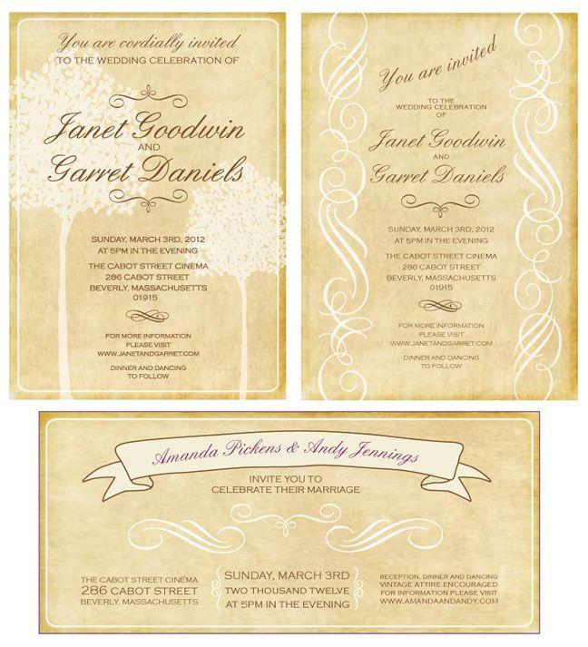 New Vintage Style Rustic Wedding Invitations