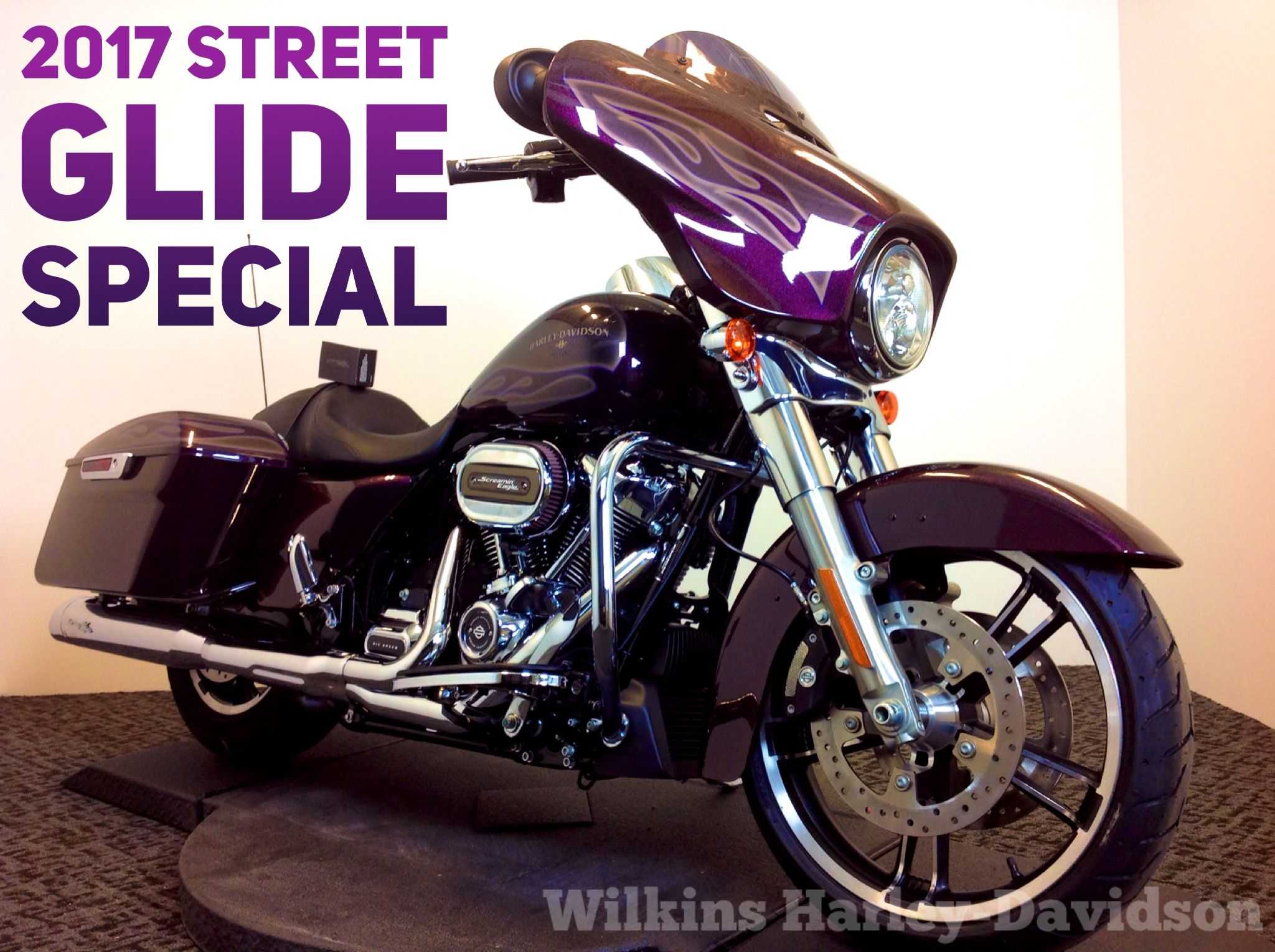 Awesome 2017 street glide special in mystic purple flake