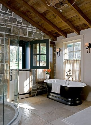 Superieur Bath Rustic Spa Bath; DPF Design. (I Could Paint Wall To Look Like Stone)