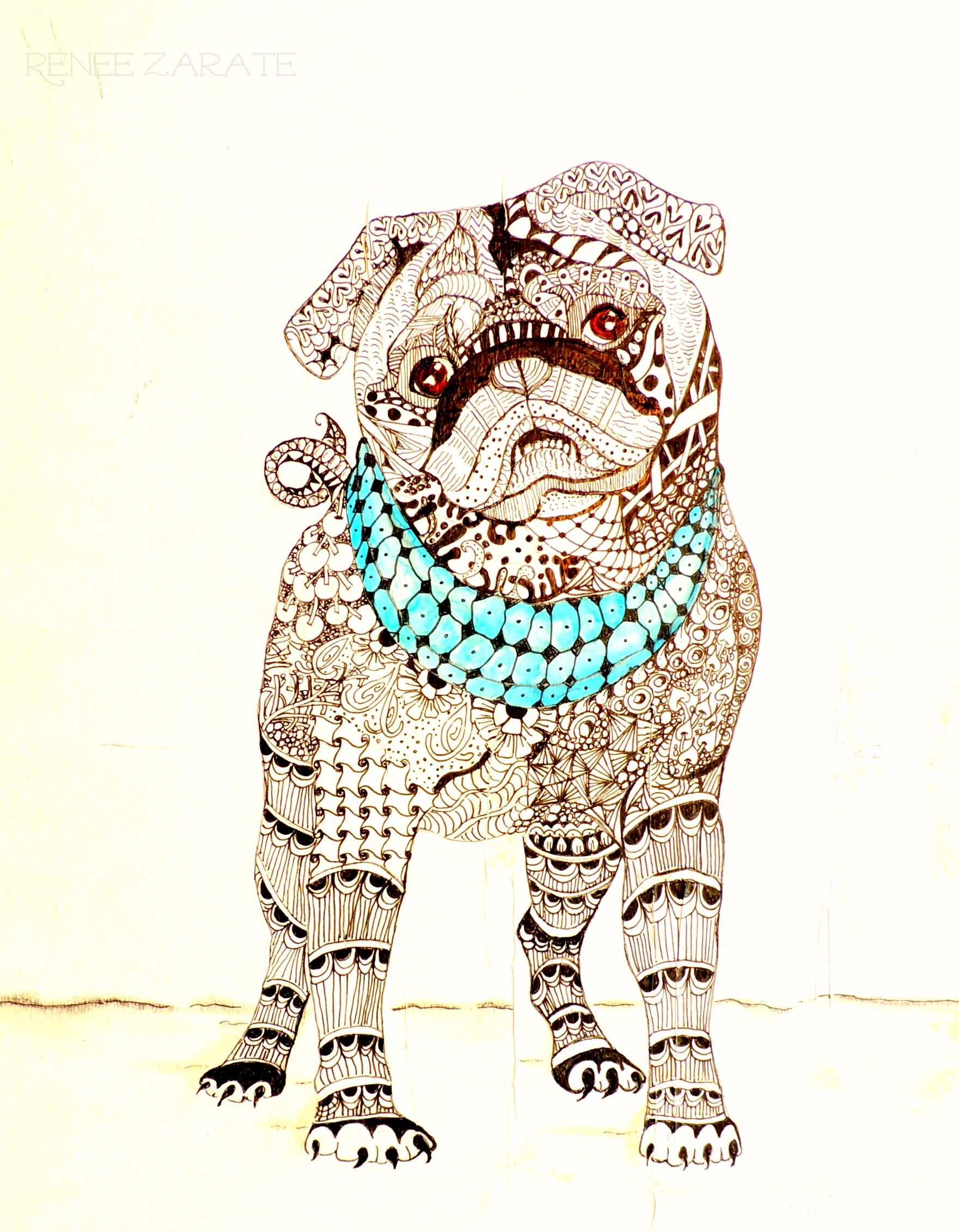 Renee Zarate\'s tangled pug, can be a coloring book page or stand ...