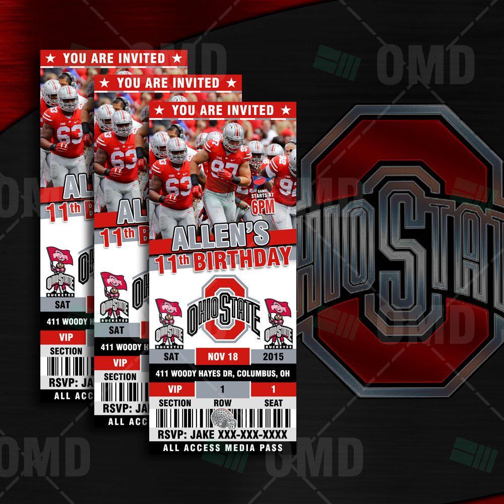 2 5x6 Ohio State Buckeyes Sports Party Invitations Football