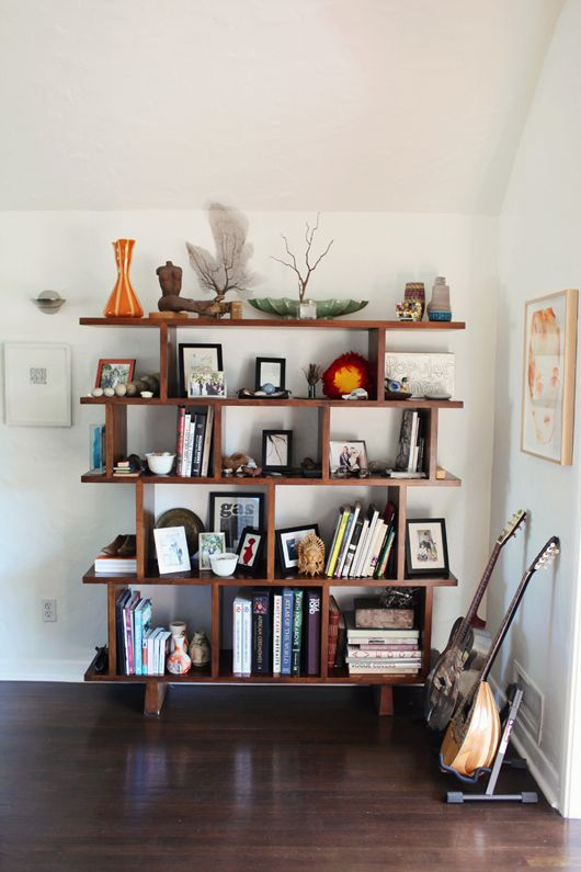nice looking modern shelving. Varying widths of the shelves adds a nice dimension and playfulness to this  bookcase sfgirlbybay bohemian modern style from san francisco girl
