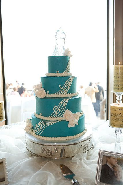 Music Notes Along Cake Just Take Off The Bride And Groom At The Top