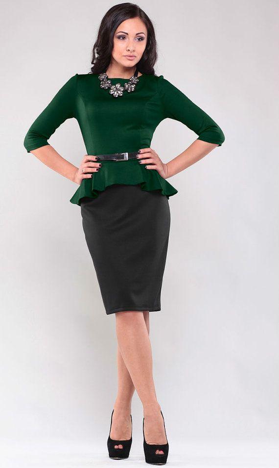 Dark Green Business Dress