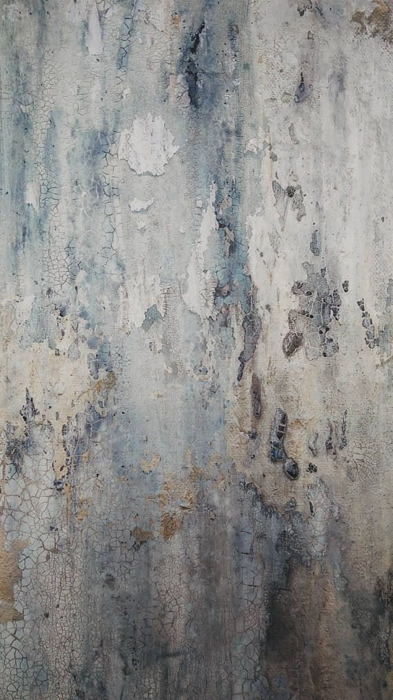 Original Abstract Painting By Amy Neal Blue Silver Gray Modern Rustic Texture Canvas Art