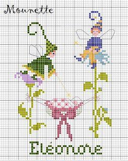 Fairy-Monochrome-Cross stitch pattern-PDF instant download  F\u00e9e-Monochrome-Grille point de croix-PDF instantan\u00e9