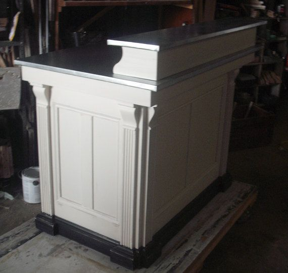 Distressed antique white kneehole reception desk perfect for small retail  shop or as a home desk -kitchen island - bar with Class ! - Medium Reception Desk French Antique Repro Salon Ideas Pinterest