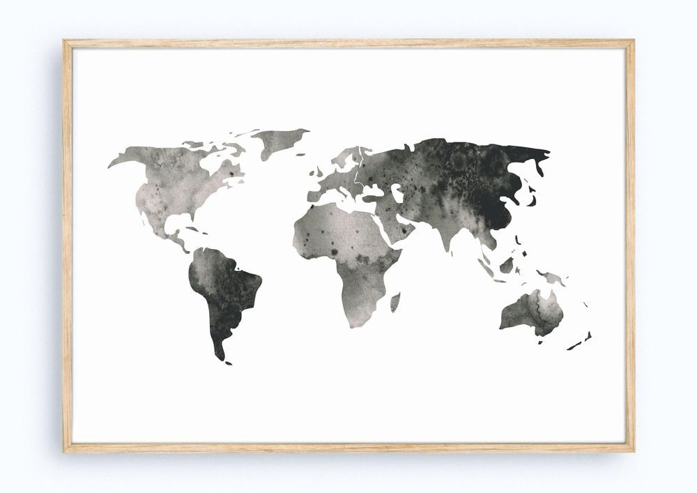 A4 - Watercolor World Map via minimalistic mess. Click on the image to see more!