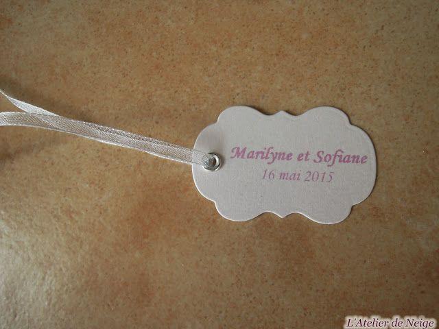 Bonjour à tous et à toutes ! Voici les Etiquettes réalisées pour le Mariage de Marilyne et Sofiane qui aura lieu le 16 mai 2015. Ce sont des étiquettes aux couleurs Blanc Irisé et Rose Pâle. Vue d'ensemble Bonne journée à tous et à toutes !