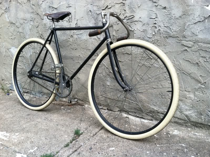 a pre 1919 Columbia Roadster with original Pope cranks, Iver Johnson forks, unknown drop bars and stem, etc, etc.