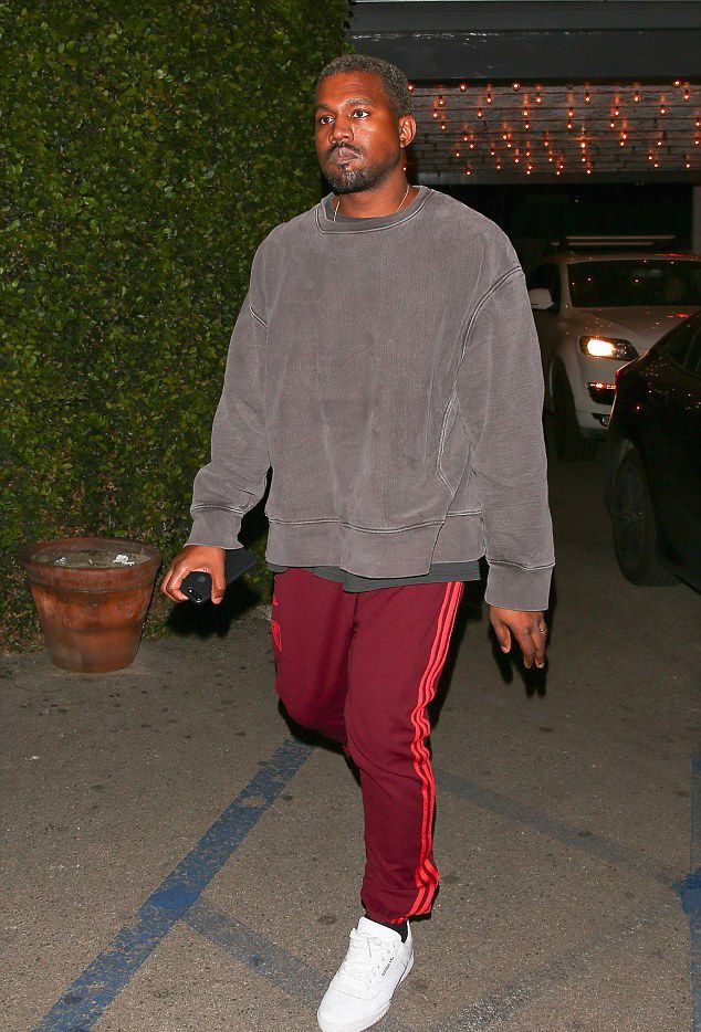 c3ed894c3468 Kanye West Steps Out In Adidas Yeezy Season Calabasas Sweatpants And  Sneakers