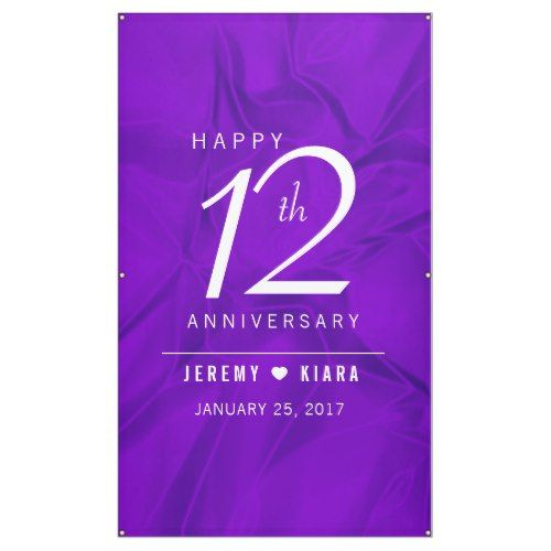elegant 12th silk wedding anniversary banner purple wedding ideas