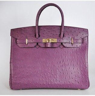 2ab094793531 Hermes Ostrich Birkin 35 40 30 purple gold silver buckle