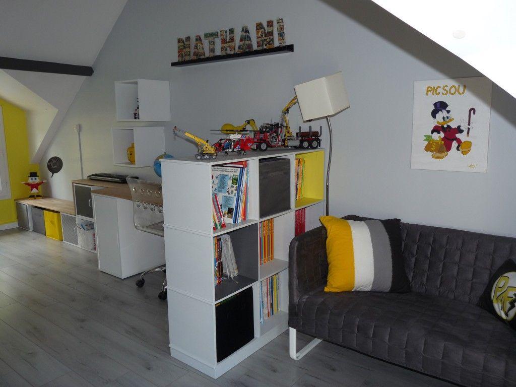 Apr s une chambre d 39 enfant transform e en chambre r alisations kiosque deco lydie pineau - Idee deco chambre ado garcon ...