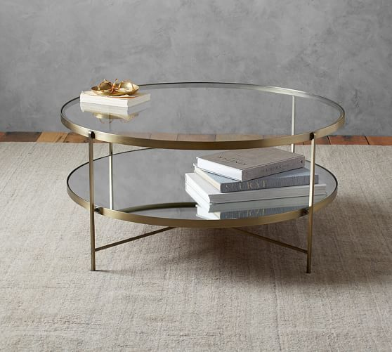 Leona Round Coffee Table Pottery Barn Living Room Pinterest - Pottery barn brass coffee table