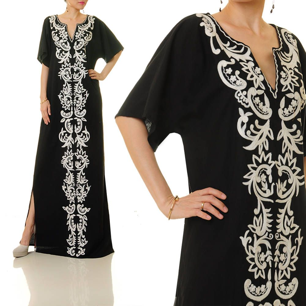 Embroidered dress black embroidered boho dress embroidered