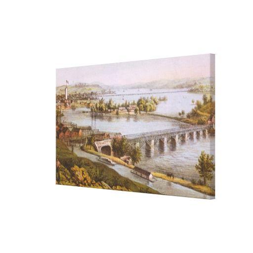 Vintage Aqueduct of Georgetown Map (1865) Canvas Print