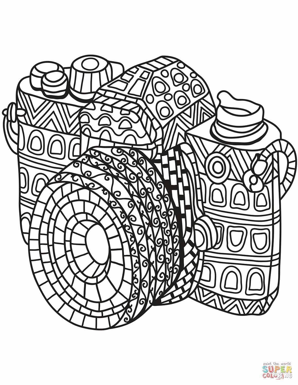 Easy Coloring Book For Adults New Zentangle Camera Coloring Page Coloring Books Coloring Pages Printable Coloring Pages