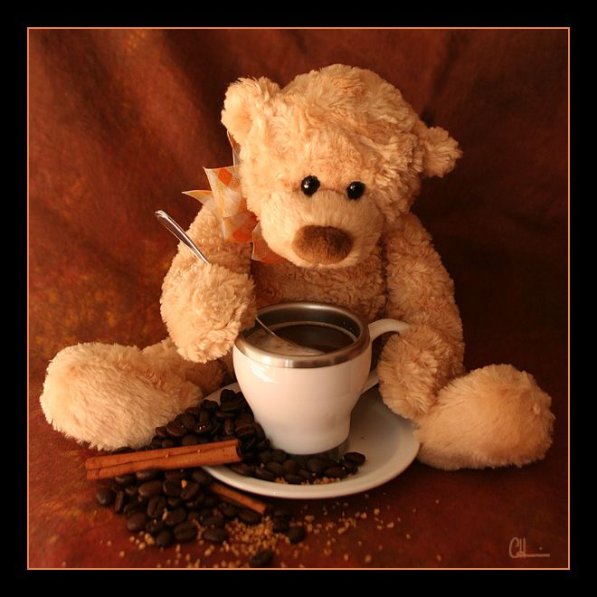 Картинки мишки и кофе