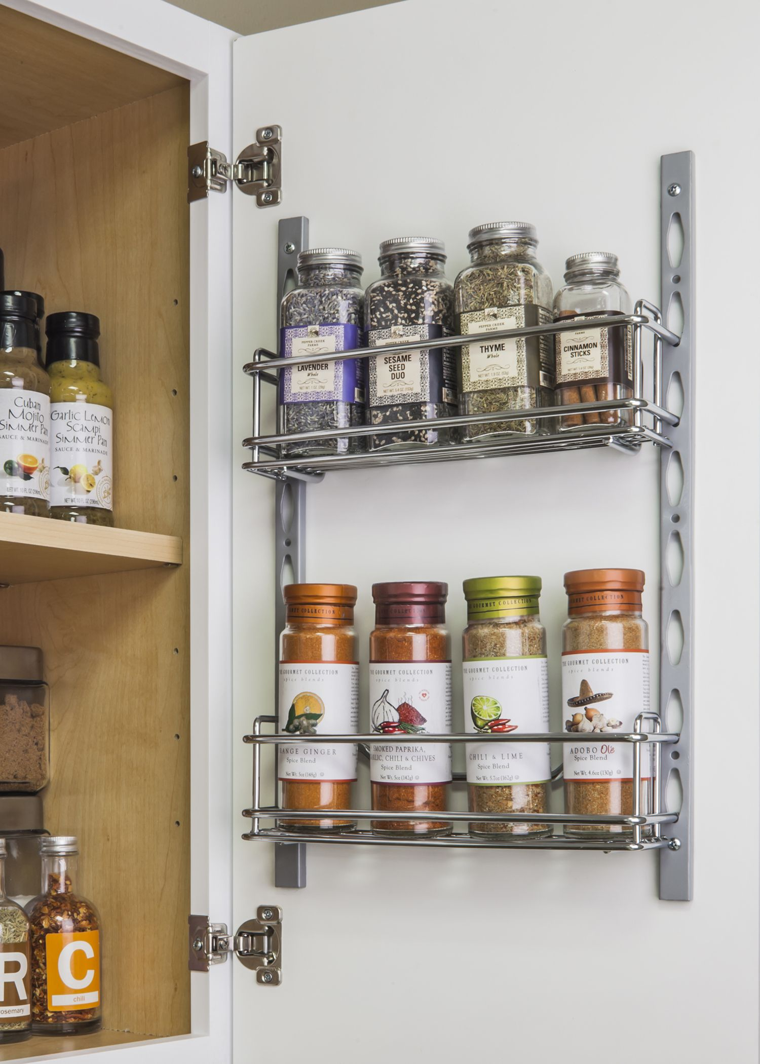 Organize Your Kitchen In 11 Minutes Or Less Easy Install Door Mounted Tray System Great For O Door Mounted Spice Rack Cabinets Organization Hardware Resources