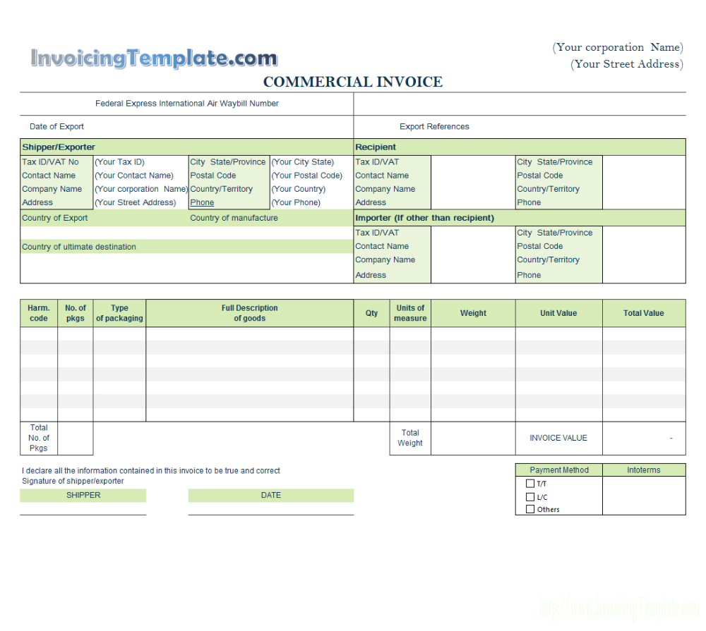 Invoice Template For Word pertaining to Template Of