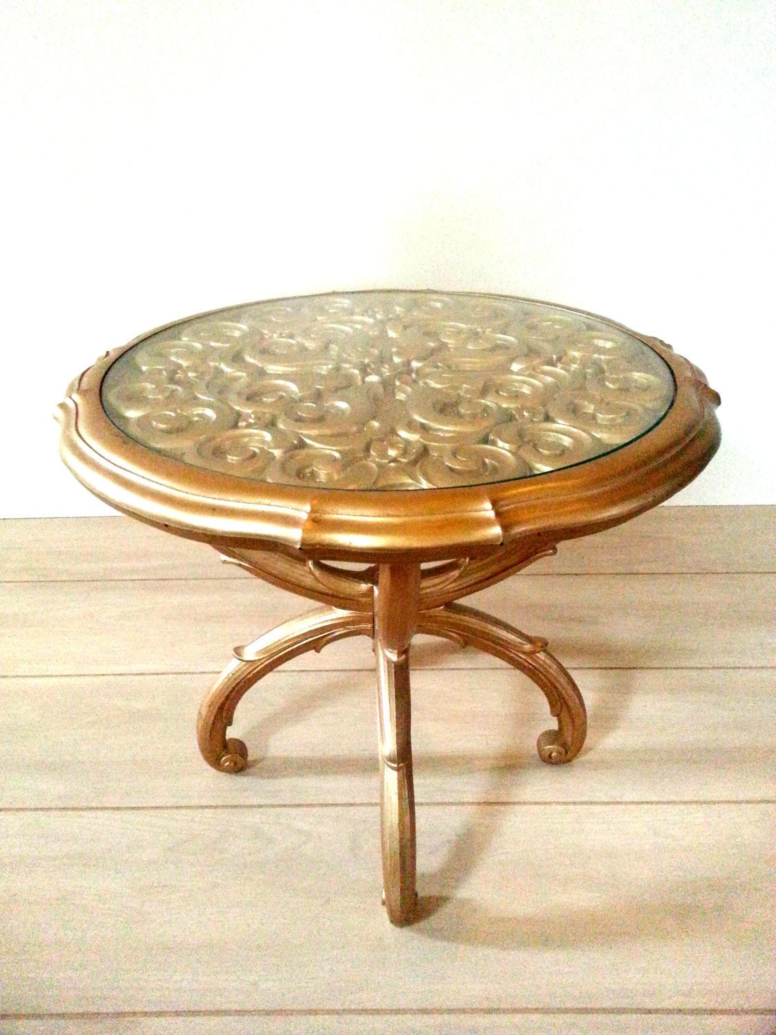 Gold Side Table / End Table ~ Vintage ~ Rare Hollywood Regency Style Glass  Top Syroco