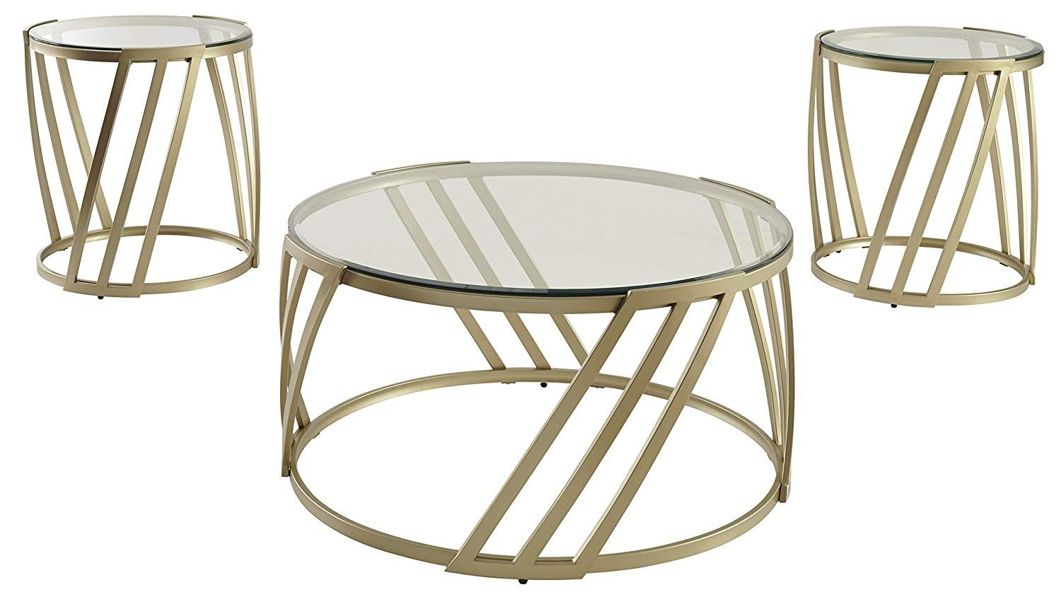 Ashley Furniture Signature Design Austiny Contemporary 3 Piece Table Set Includes Cocktail Table And Two Ashley Furniture Living Room Table Table Settings