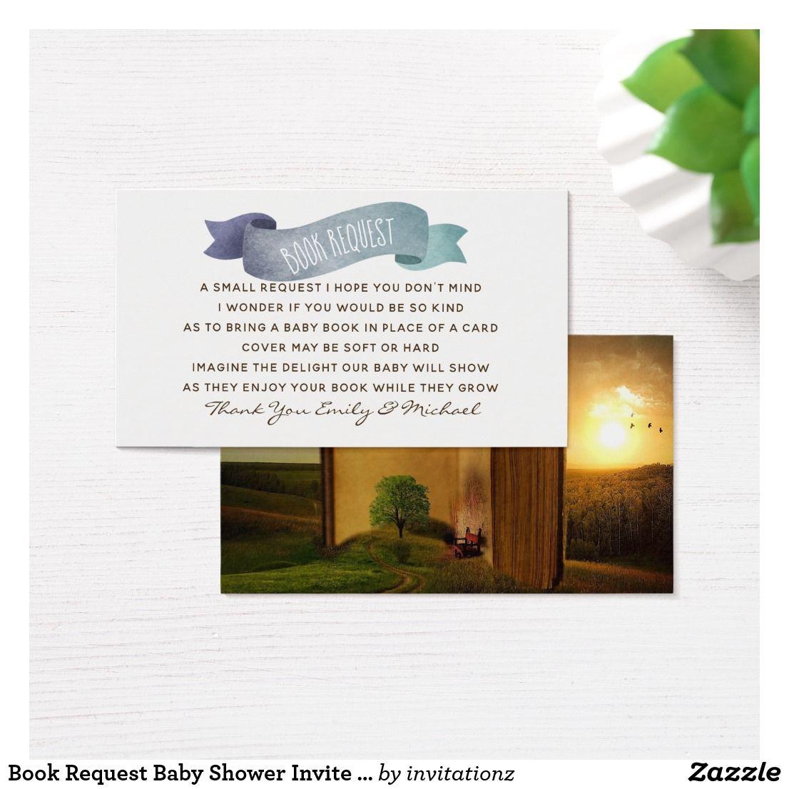 Book Request Baby Shower Invite Insert Poem