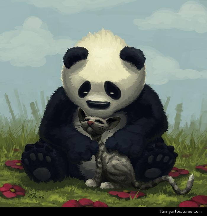 funny art | Animals funny, PANDA BEAR AND THE CUTE CAT ...