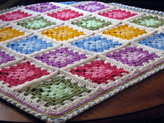 SALE Vibrant Paintbox Granny Square Crochet Baby by Thesunroomuk, £45.00