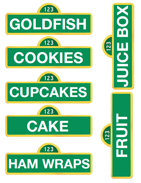 picture relating to Printable Sesame Street Sign called Printable Sesame Road foodstuff signswe may deliver Individuals